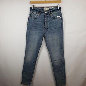 Free People Distressed Skinny Jeans Sz 27 Blue